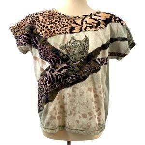 Vintage MarieaKim Cheetah Appliqué Tie Dye Top